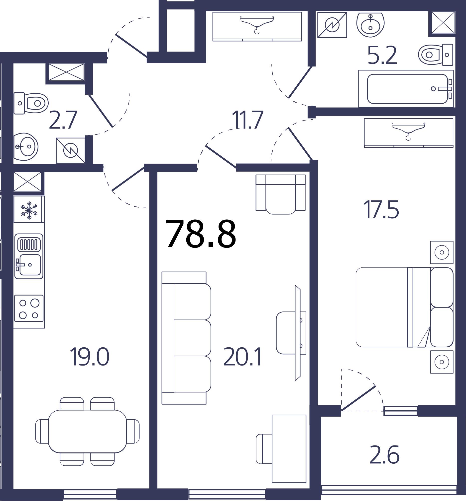 Планировка Двухкомнатная квартира площадью 77.5 кв.м в ЖК «Авиатор»