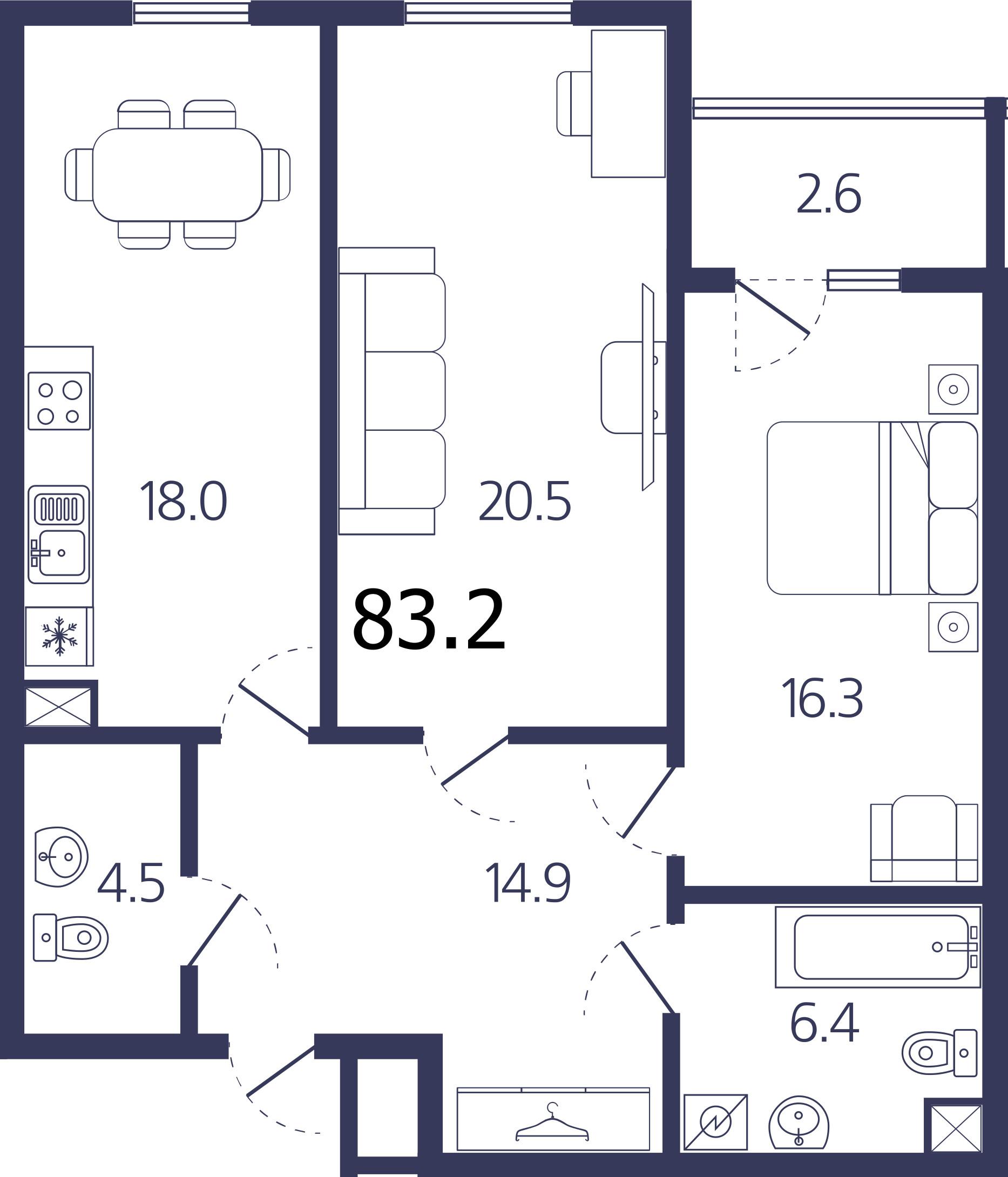 Планировка Двухкомнатная квартира площадью 83.2 кв.м в ЖК «Авиатор»